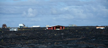 Camere vicino a flusso di lava di Kalapana Immagini Stock