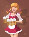 Cameriera di bar con birra Immagini Stock Libere da Diritti