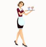Cameriera di bar con il gelato Fotografia Stock