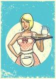 Cameriera di bar sexy d'annata che presenta prima colazione illustrazione vettoriale