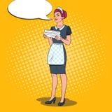 Cameriera femminile che tiene gli asciugamani puliti Domestica Service dell'hotel Illustrazione di Pop art Fotografia Stock Libera da Diritti