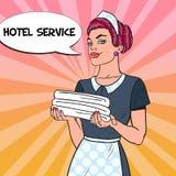 Cameriera femminile con gli asciugamani puliti Servizio degli esercizi alberghieri Illustrazione di Pop art Immagine Stock Libera da Diritti