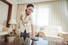 Cameriera a servizio degli esercizi alberghieri Fotografie Stock Libere da Diritti