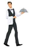 Cameriere Carrying Domed Platter - illustrazione Fotografie Stock Libere da Diritti