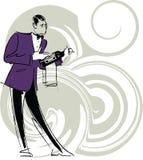 Cameriere che tiene una bottiglia di vino Immagini Stock