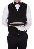 Cameriere che tiene vassoio vuoto fotografia stock