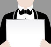 Cameriere con il segno Immagine Stock