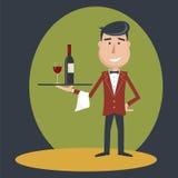 Cameriere con la bottiglia di vino ed il vetro di vino illustrazione vettoriale