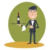 Cameriere con la bottiglia di vino ed il vetro di vino royalty illustrazione gratis
