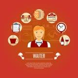 Cameriere Concept Icons Immagine Stock