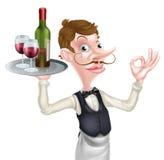 Cameriere di vino del fumetto Fotografia Stock