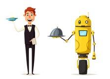 Cameriere divertente, carattere sveglio Robot e persona Illustrazione del fumetto di vettore illustrazione di stock