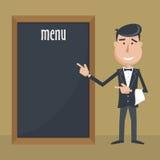 Cameriere divertente del fumetto con il menu Fotografia Stock Libera da Diritti