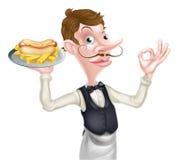 Cameriere perfetto dell'hot dog Fotografia Stock Libera da Diritti