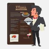 cameriere Progettazione di carattere Presentazione del concetto Menu del ristorante dentro Immagine Stock