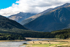 Cameron Flat Camping Ground, Mount Aspiring National Park, New Zealand. View from Cameron Flat Camping Ground, It`s located in the Mount Aspiring National Park stock photos