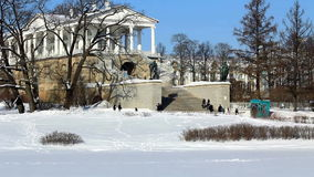 Cameron Gallery and people in Pushkin city stock video