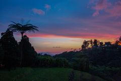 Sun set Cameron Highlands, Malaysia. Cameron Highlands sun set beautiful colors royalty free stock photos