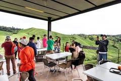 CAMERON-HOCHLÄNDER, MALAYSIA, AM 6. APRIL 2019: Besucher, die szenische Ansicht am Tee-Mittecafé BOH Sungai Palas speisen und gen lizenzfreie stockfotografie