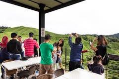 CAMERON-HOCHLÄNDER, MALAYSIA, AM 6. APRIL 2019: Besucher, die szenische Ansicht am Tee-Mittecafé BOH Sungai Palas speisen und gen lizenzfreie stockbilder