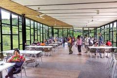 CAMERON-HOCHLÄNDER, MALAYSIA, AM 6. APRIL 2019: Besucher, die szenische Ansicht am Tee-Mittecafé BOH Sungai Palas speisen und gen lizenzfreies stockbild