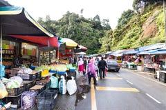 CAMERON-HOCHLÄNDER, MALAYSIA, AM 6. APRIL 2019: Tourist und kaufendes frisches Landwirtschaftserzeugnis der Käufer vom Straßensta lizenzfreies stockbild