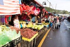 CAMERON-HOCHLÄNDER, MALAYSIA, AM 6. APRIL 2019: Tourist und kaufendes frisches Landwirtschaftserzeugnis der Käufer vom Straßensta lizenzfreies stockfoto