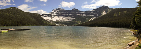 Cameron Lake in Canada. Beautiful Cameron Lake panorama in Canada, with glacier covered mountains Stock Photos