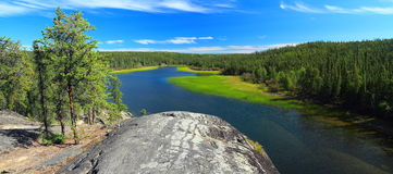 Cameron River and Canadian Shield, Hidden Lake Territorial Park, Northwest Territories, Canada. Just above Cameron Falls, the clear waters of the Cameron River Royalty Free Stock Photo