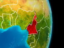 Cameroon on Earth. Cameroon in red on planet Earth with visible borderlines. 3D illustration. Elements of this image furnished by NASA Royalty Free Stock Photography