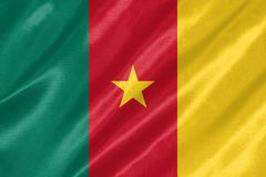 Cameroon Flag. With waving on satin texture royalty free stock photo