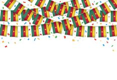 Cameroon flag garland white background with confetti. Hang bunting for Cameroonian Independence Day celebration template banner, Vector illustration Stock Photo