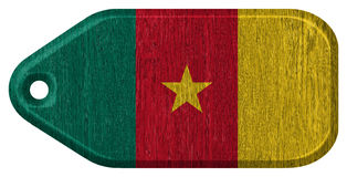 Cameroon flag. Painted on wooden tag Royalty Free Stock Images