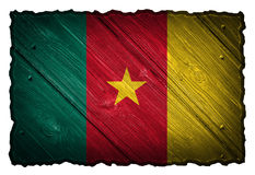 Cameroon flag. Painted on wooden tag Stock Photography