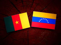 Cameroon. Flag with Venezuelan flag on a tree stump Royalty Free Stock Image