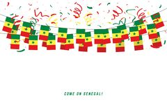 Cameroon garland flag with confetti on white background.Senegal garland flag with confetti on white background. stock illustration