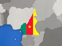 Cameroon on globe Royalty Free Stock Images