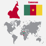 Cameroon map on a world map with flag and map pointer. Vector illustration Royalty Free Stock Images