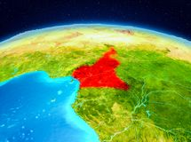 Cameroon from orbit. Satellite view of Cameroon highlighted in red on planet Earth. 3D illustration. Elements of this image furnished by NASA Stock Photography