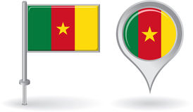 Cameroon pin icon and map pointer flag. Vector Royalty Free Stock Photo