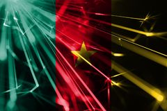 Cameroon shining fireworks sparkling flag. New Year 2019 and Christmas futuristic shiny party concept flag. Cameroon shining fireworks sparkling flag. New Year vector illustration