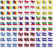 Cameroon, Singapore, Kalmykia, Dagestan, Philippines, Chechen Republic, Nicaragua, Maldives, El Salvador. Big set of 81 flags. Stock Image
