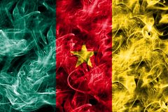 Cameroon smoke flag isolated on a black background.  Stock Images