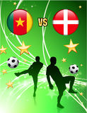Cameroon versus Denmark on Abstract Green Stars Background Stock Photography