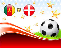 Cameroon versus Denmark on Abstract Red Background with Stars Royalty Free Stock Images