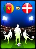 Cameroon versus Denmark on Stadium Event Background Stock Image