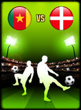 Cameroon versus Denmark on Stadium Event Background Royalty Free Stock Photography
