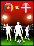 Cameroon versus Denmark on Stadium Event Background Royalty Free Stock Photo