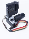 Camery and Flash. This is 35mm. camera with flash, it is good for the film.  photographical tools from old day Stock Image