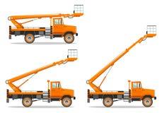 Camión aéreo de la plataforma con diversa posición del auge Máquina de la construcción pesada Maquinaria del edificio Equipo espe stock de ilustración